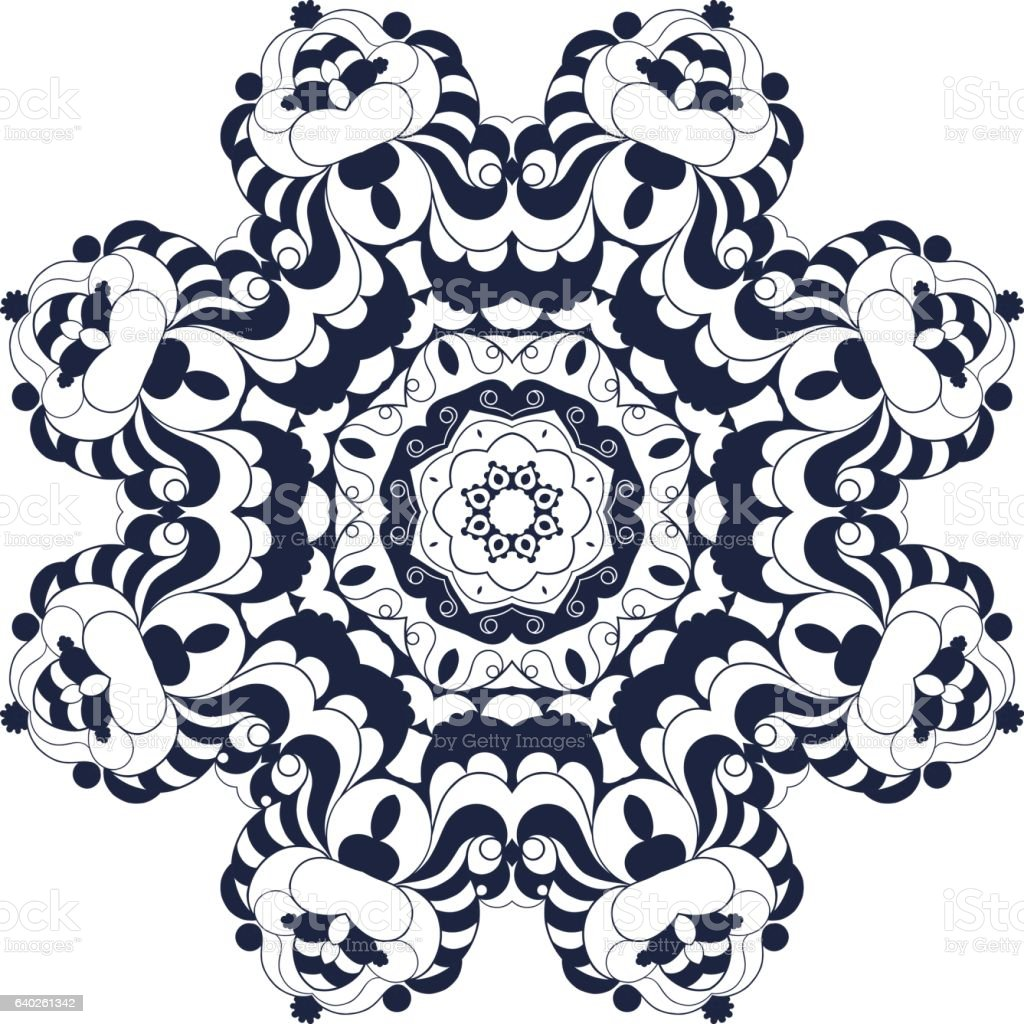 Decorative round ornate mandala for print or web design vector art illustration