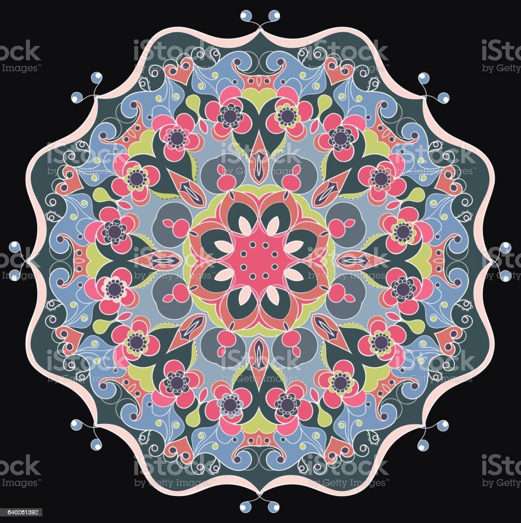 Decorative round ornate mandala for print or web design vector art illustration