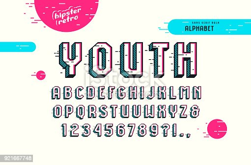 Decorative sans serif bulk font in the pop art style. Letters and numbers for emblem and title design. Color print on white background