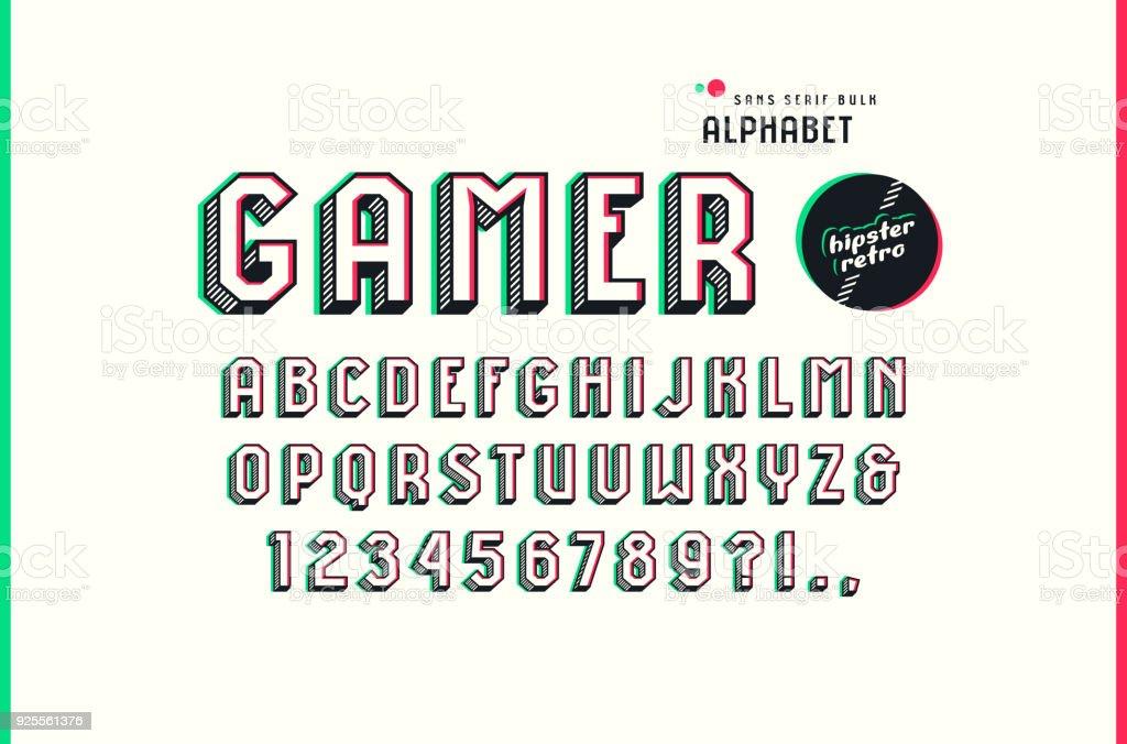 Decorative sans serif bulk font in the sport style vector art illustration