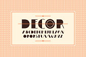 Decorative sans serif font in art deco style. Template for card design and seamless pattern