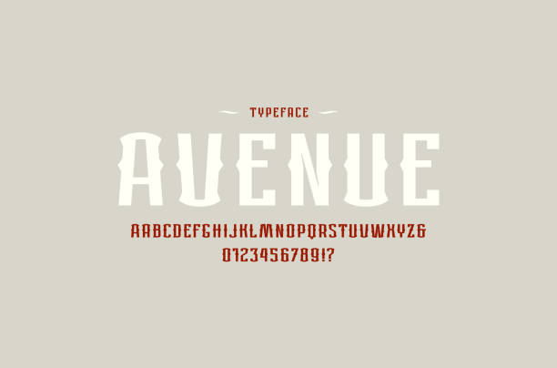 dekorative sans-serif-schrift im retro-stil - hochschulgetränke stock-grafiken, -clipart, -cartoons und -symbole