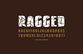 Decorative sans serif font with ragged face. Typeface in the style of handmade graphics. Letters and numbers for  emblem design