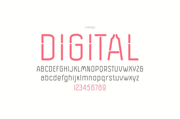 Decorative sans serif font with rounded corners vector art illustration