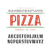 Decorative sanserif font and pizza box cover