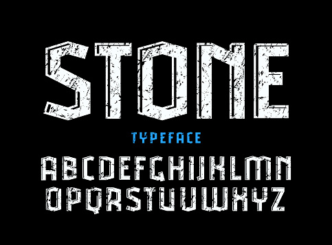Decorative sanserif font with effect of volume and rough texture