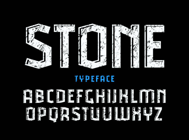 decorative sanserif font with effect of volume and rough texture - skała stock illustrations