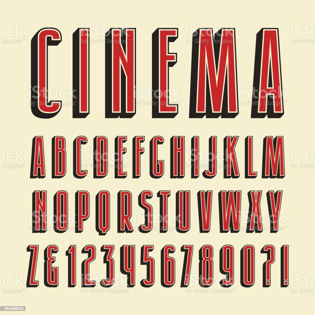 Decorative sanserif font with effect of volume vector art illustration