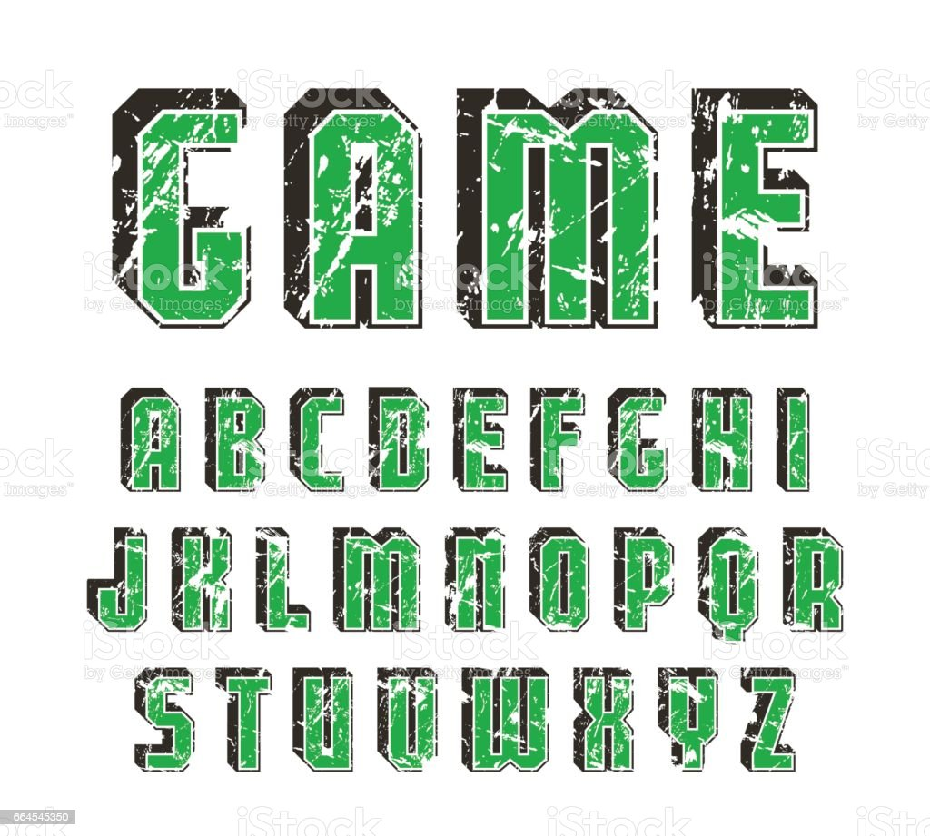 Decorative sanserif font with effect of volume royalty-free decorative sanserif font with effect of volume stock vector art & more images of alphabet