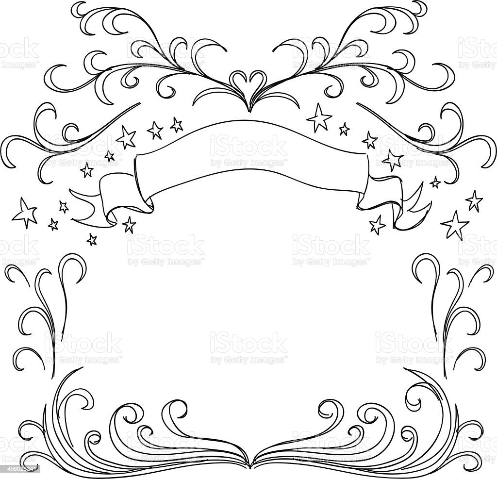 Decorative Scroll frame in sketch style vector art illustration