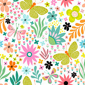 Seamless floral pattern with different butterflies, flowers and plants on white background