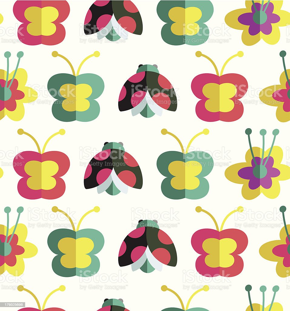 Decorative seamless pattern with insects and flowers royalty-free stock vector art
