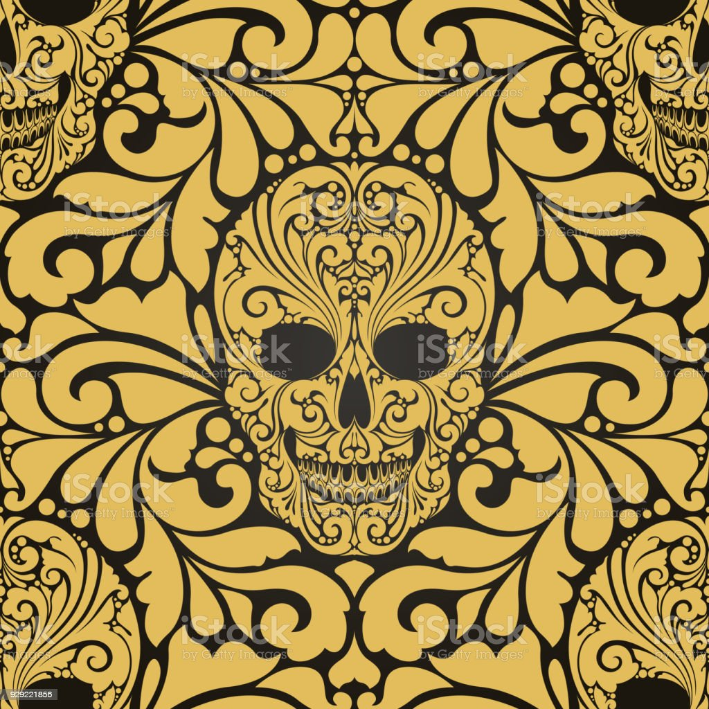 Decorative Seamless Pattern With Ornate Skulls And Abstract