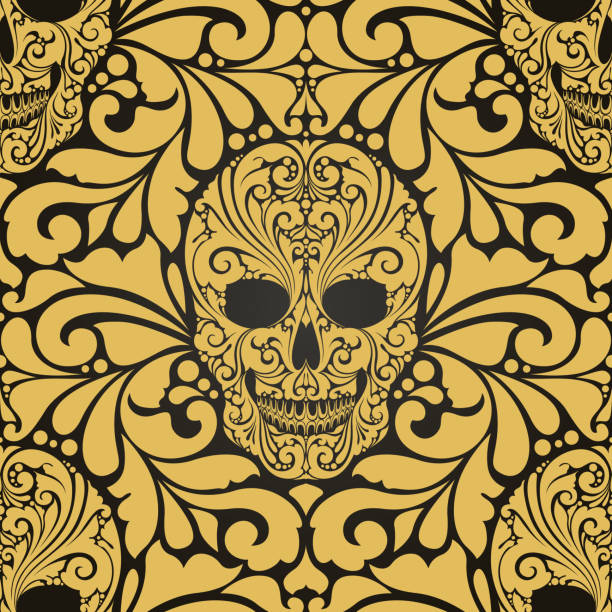 Decorative seamless pattern with ornate skulls and abstract ornamental elements Day of the Dead Wallpaper Pattern background. Decorative seamless pattern with ornate skulls and abstract ornamental elements Day of the Dead Wallpaper Pattern background mistery stock illustrations