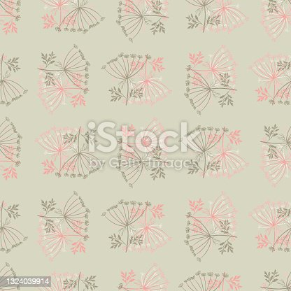 istock Decorative seamless pattern with pink colored dill umbrella silhouettes. Grey background. Simple style. 1324039914