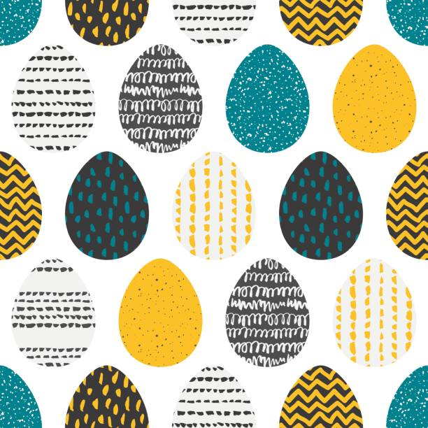 Decorative seamless patterns with eggs vector art illustration