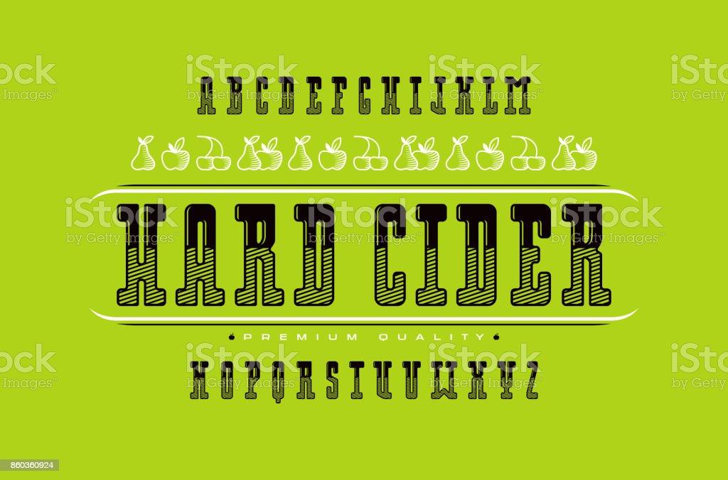 Dekorative Serif-Schriftart und Apfelwein-label – Vektorgrafik
