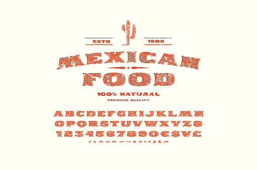 Decorative serif font and label template for mexican restaurant