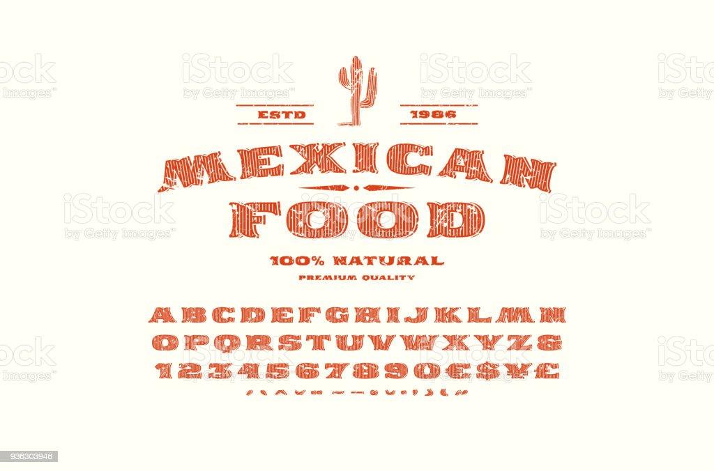 Décoratifs serif polices et étiquette modèle pour restaurant mexicain - Illustration vectorielle