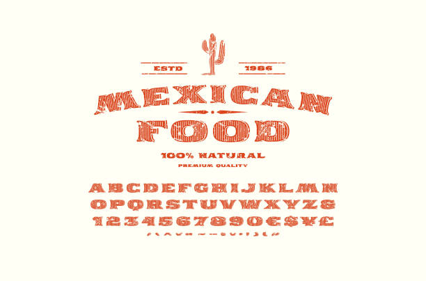 Decorative serif font and label template for mexican restaurant vector art illustration