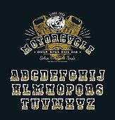 Decorative serif font in biker style