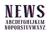 Decorative serif font with glitch distortion effect
