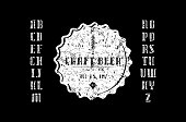 Decorative serif stencil-plate font and craft beer label. Letters with rough texture for label and title design