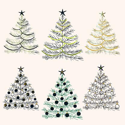 Decorative set of Christmas trees. Stylized Christmas trees. Decorative elements for Christmas. Vector illustration. Christmas and New Year 2022.