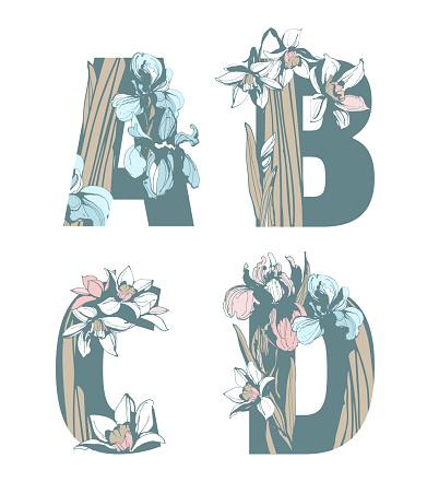 Decorative set of floral pattern flowers letters alphabet abc font.