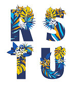 Decorative set floral tropical tropic pattern letter alphabet abc font. Lettering hand drawn beach palm leaves birds flowers ornament. Vector grunge orange blue illustration t-shirt print. R, S, T, U