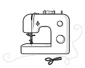 Decorative Sewing Machine Graphic Element
