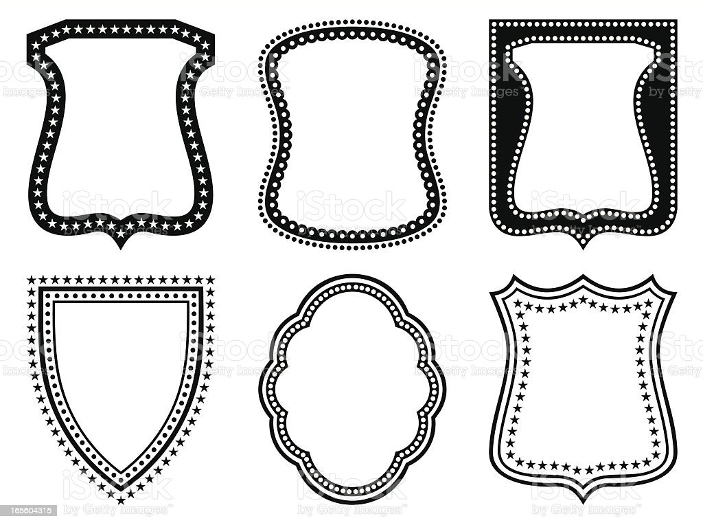 decorative shields set royalty-free decorative shields set stock vector art & more images of black and white