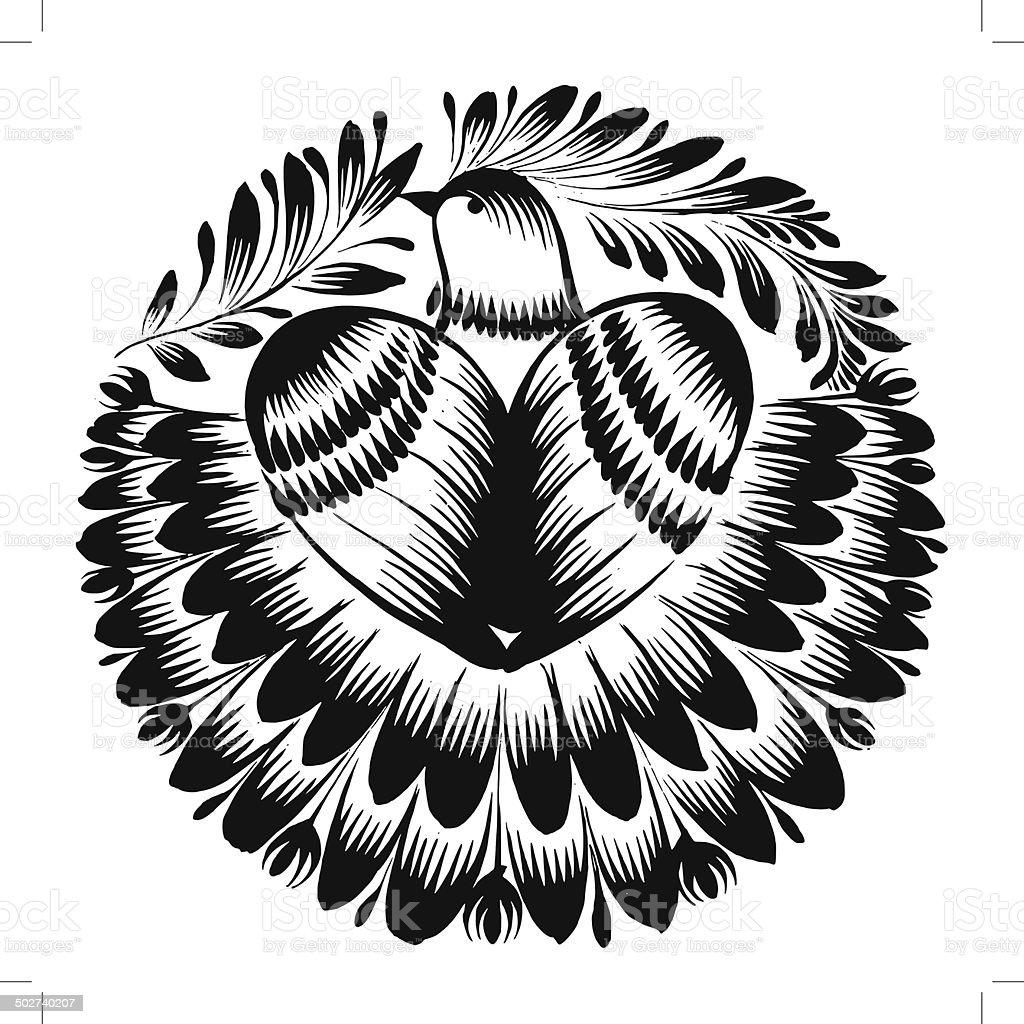 decorative silhouette of beautiful pigeon vector art illustration
