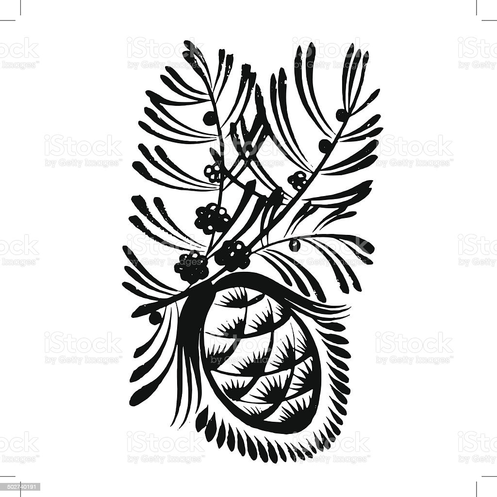 decorative silhouette pine cone with pine needles vector art illustration