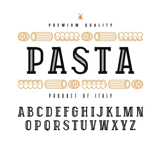 Decorative slab serif font in retro style Decorative slab serif font in retro style and pasta label. Isolated on white background rotelle stock illustrations