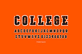 Decorative slab serif font with contour. Letters and numbers with rust texture for emblem and t-shirt design. Color print on orange background
