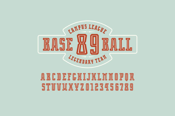 decorative slab serif font with inner contour - softball stock illustrations, clip art, cartoons, & icons