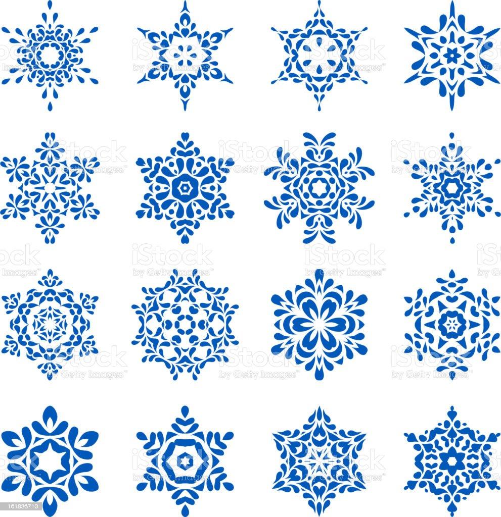 Decorative snowflakes set royalty-free stock vector art