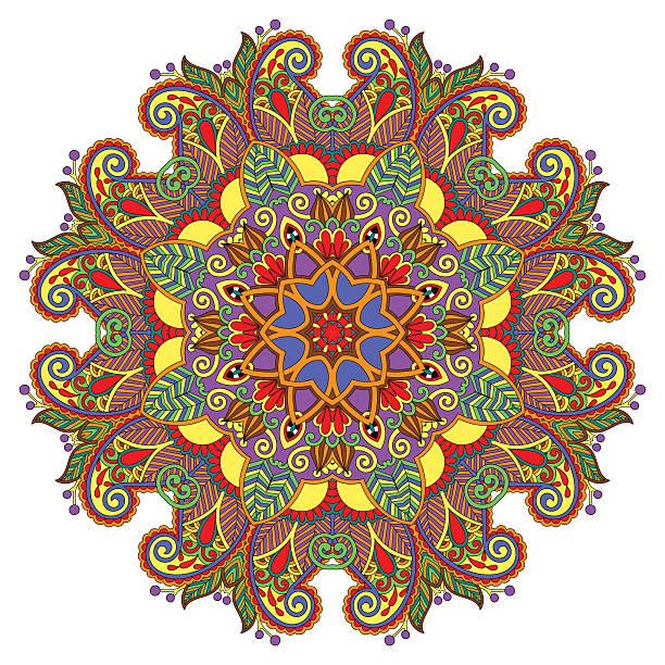 dekorative spirituellen indischen symbol des lotus blume - mantra stock-grafiken, -clipart, -cartoons und -symbole
