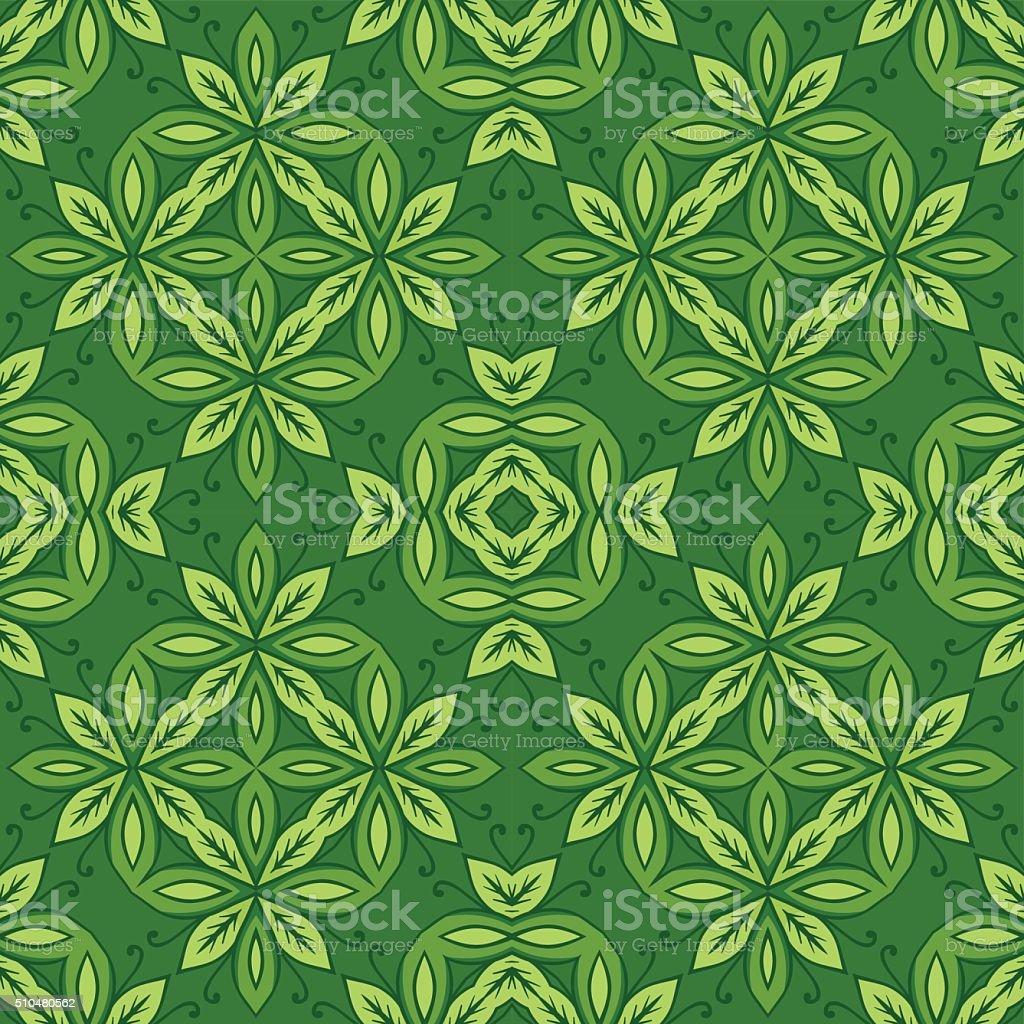 Decorative Spring Green Floral Seamless Pattern vector art illustration