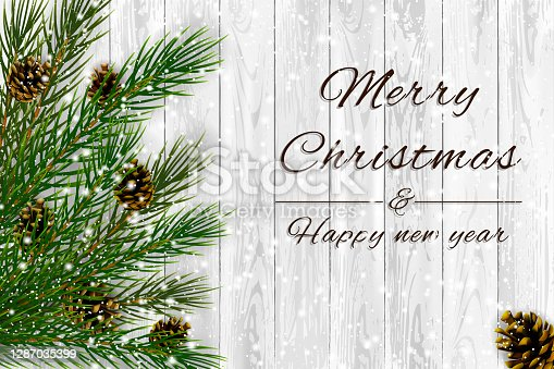 istock Decorative Spruce branches with pine cones and snow on a white wooden background, Christmas theme illustration. 1287035399