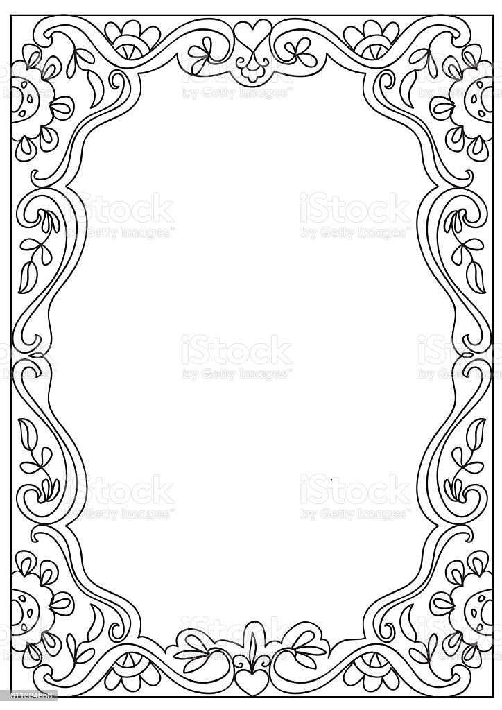 Decorative Square Coloring Page Frame Isolated On White ...