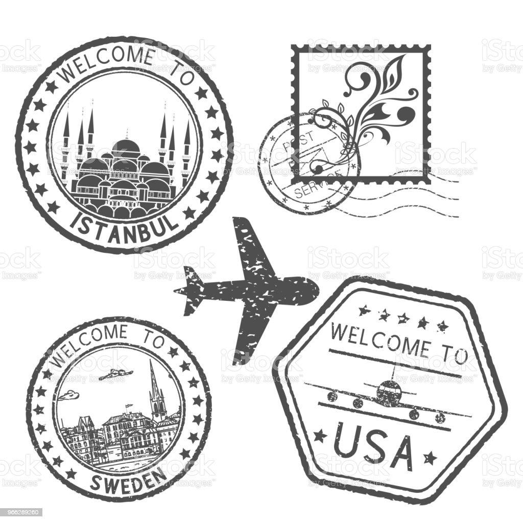 Decorative stamps and postal elements vector art illustration