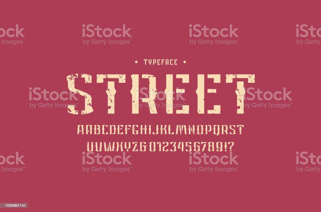 Decorative Stencilplate Sans Serif Font In Retro Style Stock Illustration -  Download Image Now