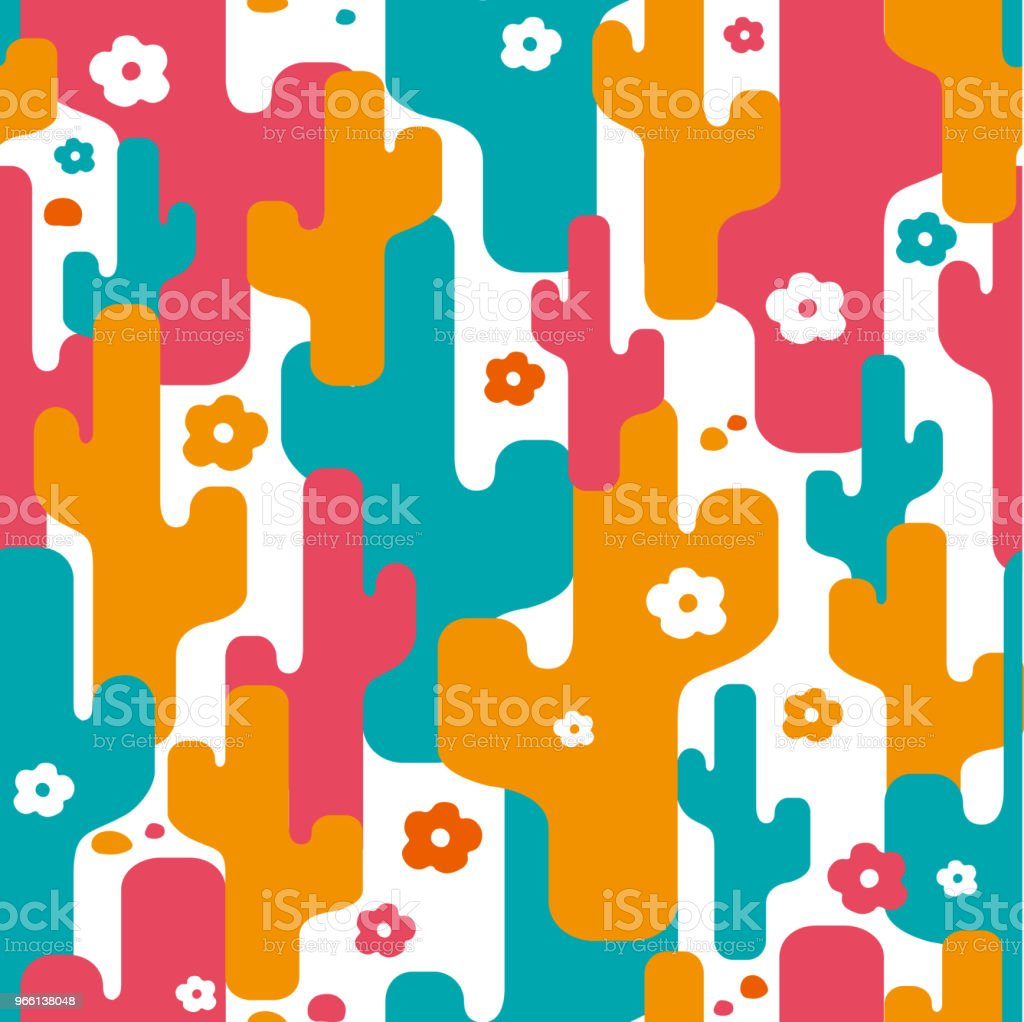Decorative stylized cactus seamless abstract pattern - Векторная графика Абстрактный роялти-фри