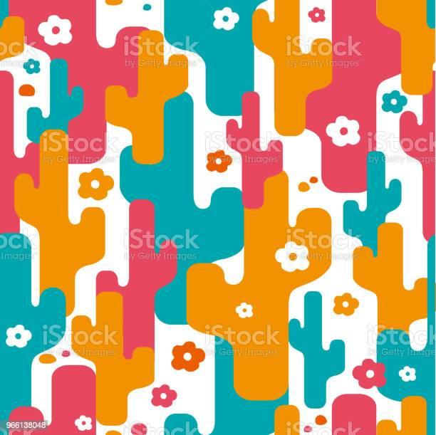 Decorative Stylized Cactus Seamless Abstract Pattern — стоковая векторная графика и другие изображения на тему Абстрактный