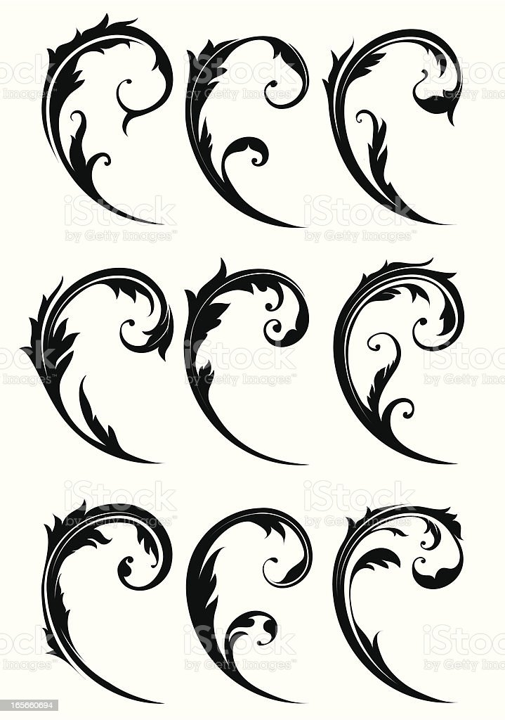 Decorative Swirl Elements royalty-free stock vector art