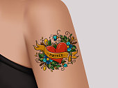 Decorative tattoo on female arm. Heart with flowers and ribbon. Mother tattoo. Realistic illustration for tattoo parlor