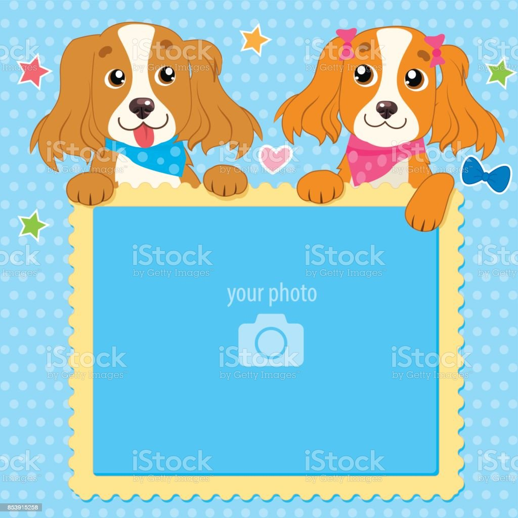 Decorative Template For Baby, Family Or Memories. Two Shaggy Dogs With Vector Photo Frame. vector art illustration