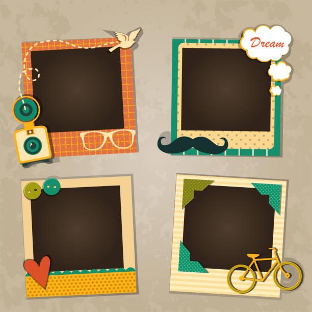 dekorative vorlage frame - tierfotografie stock-grafiken, -clipart, -cartoons und -symbole